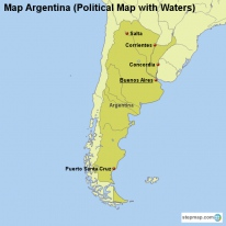 Map Argentina (Political Map with Waters)