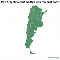 Map Argentina (Outline-Map with regional borders)