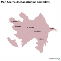 Map Aserbaidschan (Outline and Cities)