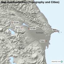 Map Aserbaidschan (Topography and Cities)