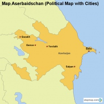Map Aserbaidschan (Political Map with Cities)