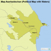 Map Aserbaidschan (Political Map with Waters)
