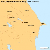 Map Aserbaidschan (Map with Cities)
