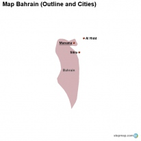 Map Bahrain (Outline and Cities)