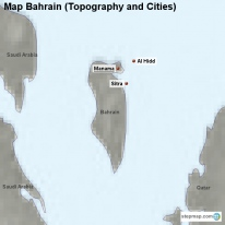 Map Bahrain (Topography and Cities)