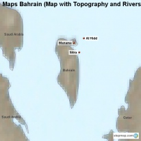 Maps Bahrain (Map with Topography and Rivers)