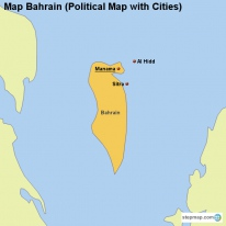Map Bahrain (Political Map with Cities)