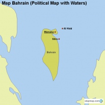 Map Bahrain (Political Map with Waters)