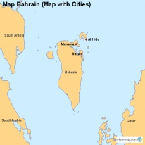 Map Bahrain (Map with Cities)