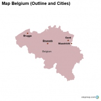 Map Belgium (Outline and Cities)