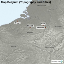 Map Belgium (Topography and Cities)