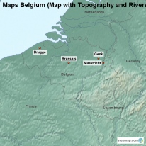 maps belgium map with topography and rivers