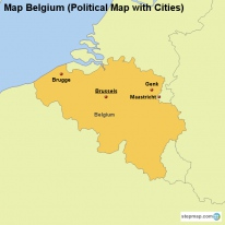 Map Belgium (Political Map with Cities)
