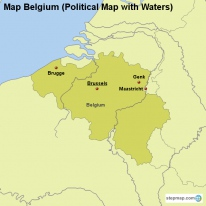 Map Belgium (Political Map with Waters)