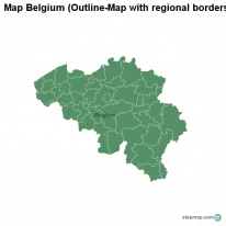 Map Belgium (Outline-Map with regional borders)