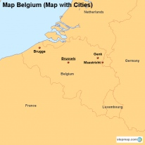 Map Belgium (Map with Cities)