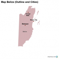 Map Belize (Outline and Cities)