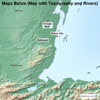 Maps Belize (Map with Topography and Rivers)