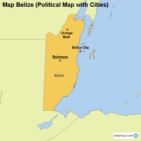Map Belize (Political Map with Cities)