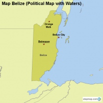 Map Belize (Political Map with Waters)