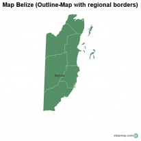 Map Belize (Outline-Map with regional borders)