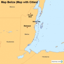 Map Belize (Map with Cities)