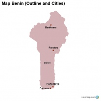 Map Benin (Outline and Cities)