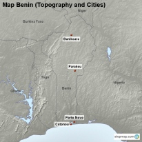 Map Benin (Topography and Cities)