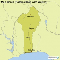 Map Benin (Political Map with Waters)