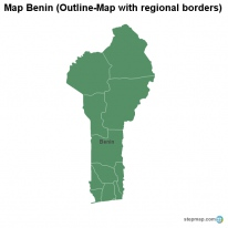 Map Benin (Outline-Map with regional borders)