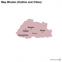 Map Bhutan (Outline and Cities)