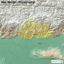 Map Bhutan (Topography)