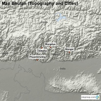 Map Bhutan (Topography and Cities)