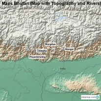 Maps Bhutan (Map with Topography and Rivers)