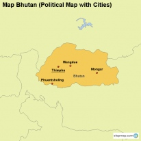 Map Bhutan (Political Map with Cities)