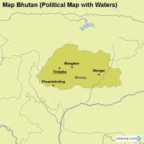Map Bhutan (Political Map with Waters)