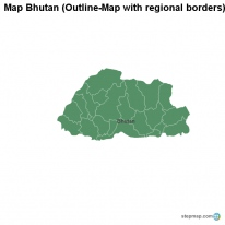 Map Bhutan (Outline-Map with regional borders)