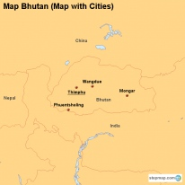 Map Bhutan (Map with Cities)