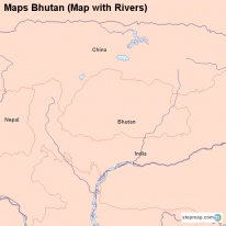 Maps Bhutan (Map with Rivers)