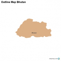 Outline Map Bhutan
