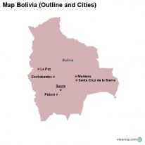 Map Bolivia (Outline and Cities)