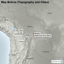 Map Bolivia (Topography and Cities)