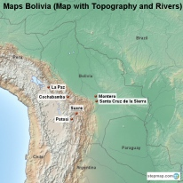 Maps Bolivia (Map with Topography and Rivers)