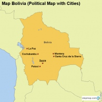 Map Bolivia (Political Map with Cities)