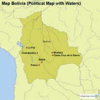 Map Bolivia (Political Map with Waters)