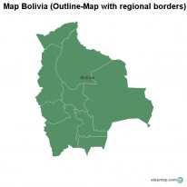 Map Bolivia (Outline-Map with regional borders)
