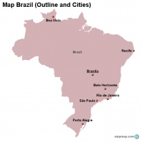Map Brazil (Outline and Cities)