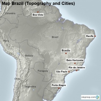 Map Brazil (Topography and Cities)