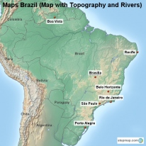 Maps Brazil (Map with Topography and Rivers)