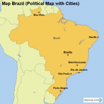 Map Brazil (Political Map with Cities)